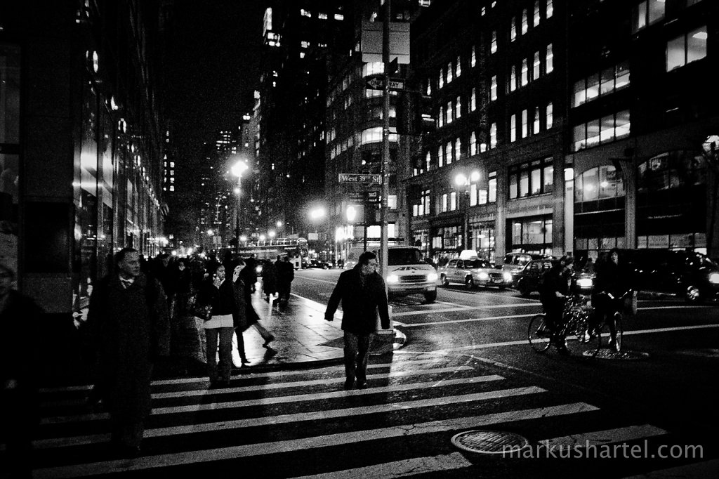 Crossing West 39th Street, night