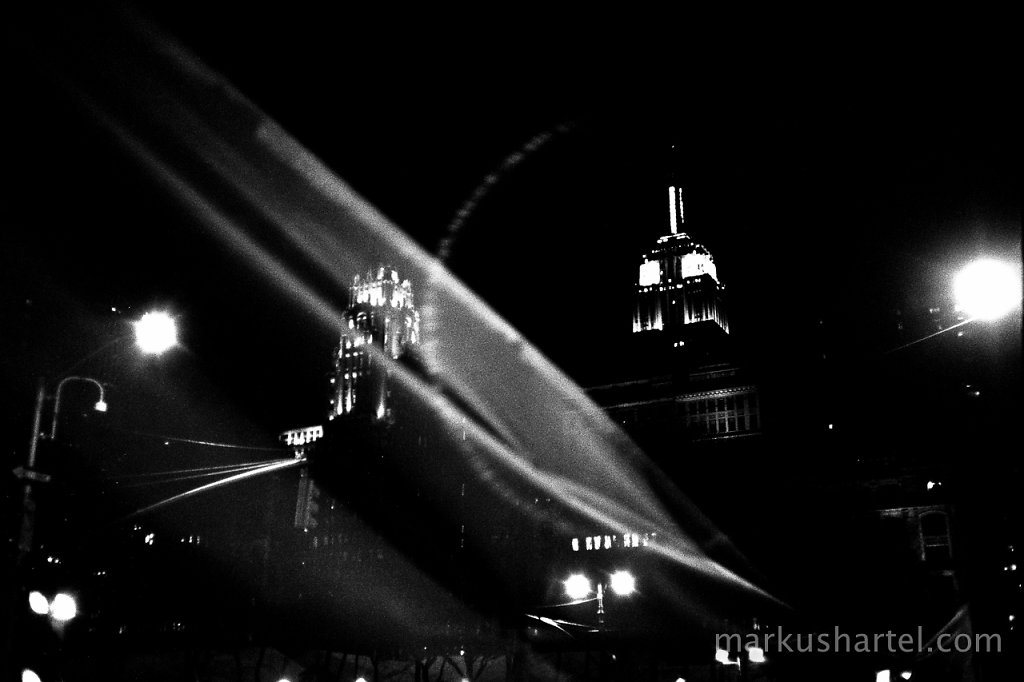 Empire State building and gauze at night