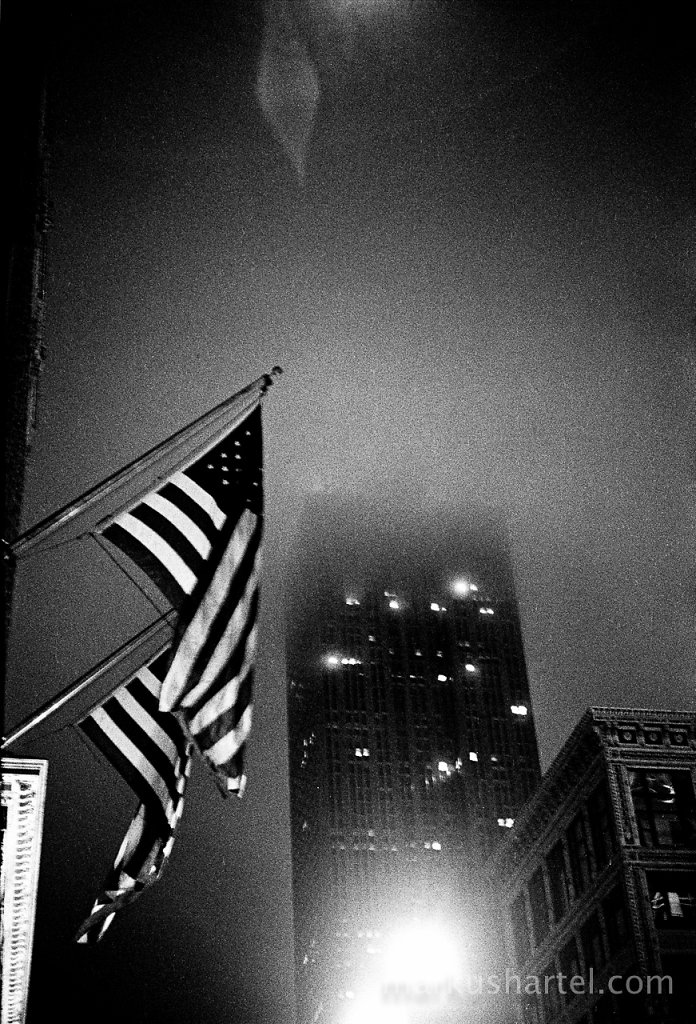 Empire State building and flag